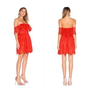 Lovers and Friends Dream Vacay Red Lace Dress
